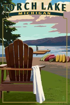 Torch Lake, Michigan - Adirondack Chairs - Lantern Press Poster