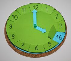 http://www.klassenkunst.com/2014/05/bastelvorlage-uhr.html?spref=pi: Bastelvorlage Uhr mit Klappen, Mathe, Uhrzeit, basteln