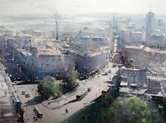 Dusan Djukaric  View on Old town Belgrade, watercolor 54x74 cm