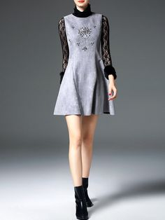 #StyleWe Shop D.FANNI Dresses - Gray A-line Beaded Casual Mini Dress online. Discover unique designers fashion at AdoreWe.net.