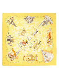 Les Triples Hermès Silk Scarf: Shades of Yellow | Vintage Carré | @vintagecarre | www.vintagecarre.com