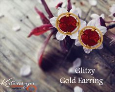 Sturdy Gold Ear Ring with Red Stone in 22Kt  Buy Now :http://buff.ly/1Zy6fa9 COD Option Available With Free Shipping In India