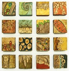"Organelles - By Susan Dennis Gordon -Installation of Sixteen 8""x8""x3"" paintings on box-style canvas."