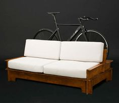 Made by Chilean specialty furniture company is a couch with a built-in rack in the back for docking a bicycle. Craftsman House Plans, Modern House Plans, Small House Plans, House Floor Plans, Bike Storage Home, Bicycle Storage, Garage Apartment Floor Plans, Garage Apartments, Bicycle Stand