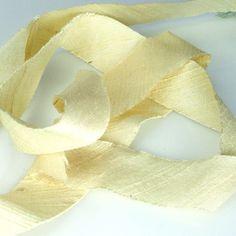 Silk Ribbon Bias Cut Dupioni French Vanilla 3/4 by TandZSupplies, $5.20