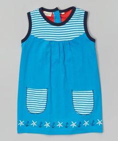 Blue Organic Cotton Sleeveless Dress - Infant, Toddler & Girls