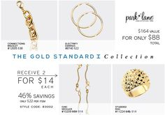 Add this collection to your wardrobe for only $88! (originally $164) That's 46% OFF! ($22 a piece!) #goldcollection #parklanejewelry