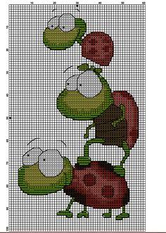 Kreuzstich Cross Stitch Animals, C2c, Needlepoint, Ladybug, Stitching, Kids, Insects, Butterflies, Beautiful Drawings
