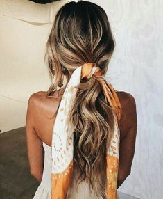 Scarf In Hair Via Pinterest - Tousled Hair And Silk Scarf Bow Pony Tail