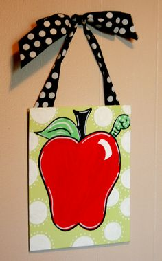 Teacher Door Hanger: i made this for my aunt it turned out cute and i personalized it with her name in the middle of the apple!