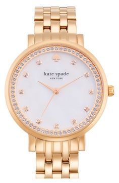 GOLD not silver **************kate+spade+new+york+'monterey'+crystal+dial+bracelet+watch,+38mm+available+at+#Nordstrom