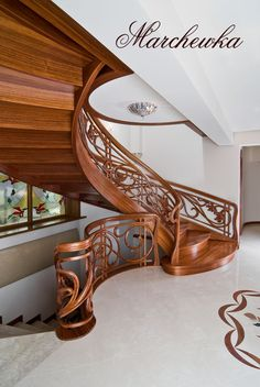 Today's technology allow us to design a wooden staircase in a variety of scenarios, we specialize in the manufacture of curved staircases, but we are equallt happy producing traditional straight wooden stairs Wooden Staircase Design, Staircase Railings, Wooden Staircases, Wooden Stairs, Banisters, Modern Staircase, Grand Staircase, Spiral Staircase, Stairways