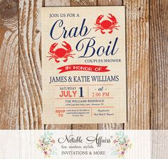 Modern Vintage Red White Dark Navy Crab Seafood Crab Boil Invitation - choose your colors and wording - Seafood Shrimp Crab Low Country Boil by NotableAffairs