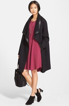 Eileen Fisher Drape Front Coat & Jersey Flare Dress available at #Nordstrom