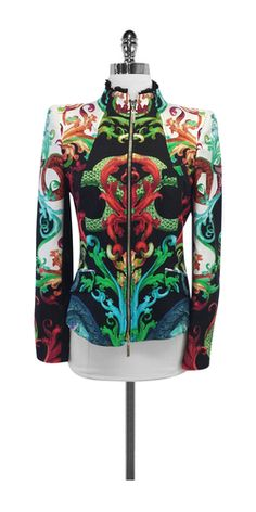 Roberto Cavalli Multi-Color Print Silk Jacket