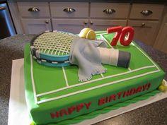 Tennis cake Tennis Cupcakes, Tennis Cake, Tennis Party, Birthday Party Treats, 70th Birthday, Birthday Cakes, Dad Cake, Sport Cakes, Theme Cakes