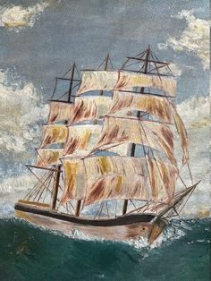 Hadley Clipper Ship Original Antique Large Oil Painting Signed   Etsy Nautical Painting, Ship Paintings, Hadley, Painted Signs, Sailing Ships, Oil, The Originals, Antiques, Places