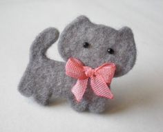 Felt Cat Brooch Gray Cat with Pink Ribbon by LimonYesili on Etsy, $8.00