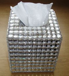 Clean Rhinestone napkin box bling bling napkin holder Square Tissue Box Case Home Table Bathroom Decor