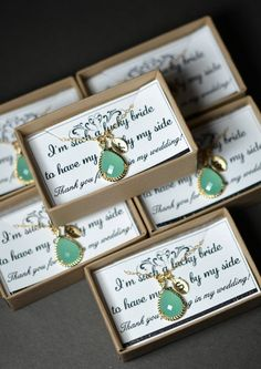 Mint opal green gold necklace Bridesmaid Wedding by thefabwedding