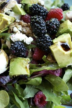 Berry Summer Salad with Goat Cheese or Feta and Avocado. Here the receipe: 1 Cup of Rasperries  1 Cup of Blackberries  Avocado  several sliced mushrooms (optional)  6 cups of Fresh Spring Mix or Spinach 1/2 cup of Goat Cheese or Feta Cheese 3 Tablespoons of Natural Olive oil 2 Tablespoons of  Balsamic Vinaigrette a dash of salt