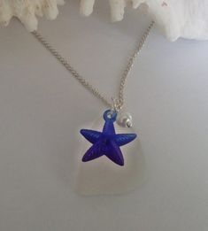 Blue starfish necklace - sea glass necklace - beach glas jewelry. | nuMONDAY