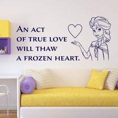 Frozen Wall Decal Elsa Olaf Anna Vinyl Wall Decal True love  Disney Frozen Movie Quote Frozen Quote Decal Children's Room Decor ET044