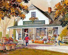 Autumn Painting, Autumn Art, Autumn Prints, Fall Pictures, Pretty Pictures, Collages, Autumn Scenes, Farm Art, Cottage Art
