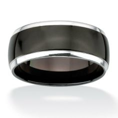 PalmBeach Jewelry Unisex Black ION-Plated Stainless Steel with Silvertone Accents 10mm Wedding Band Neno Buscotti. $34.99