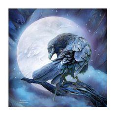 Raven Moon by Carol Cavalaris Cute Art Projects, Animal Art Projects, Hugin Munin Tattoo, Art Deco Artwork, Raven Bird, Fantasy Art Men, Body Art Photography, Rhinestone Art, Modern Canvas Art