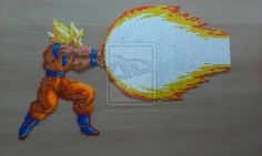 Dragon Ball Super Saiyan Goku performing Kamehameha Hama mini beads (33 cm x 20 cm) by PixelBeadPictures