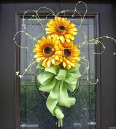 Decorative Wreaths | Spring Wreath, Sunflower Bouquet, Wall Decor, Yellow Sunflower Floral ...