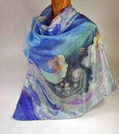 Batik shawl Russian winter handpainted on silk by lavanita on Etsy, $149.00