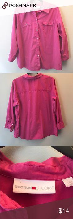 ⭐️ Sale 18/20 Avenue Long Sleeve Button Down Avenue Long Sleeve Button Down. Pink. Cotton, Poly, Spandex. Avenue Tops Button Down Shirts