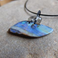 Boulder Opal pendant necklace  - for lovers of blue and the ocean - handmade one of a kind natural jewelry by NaturesArtMelbourne on Etsy
