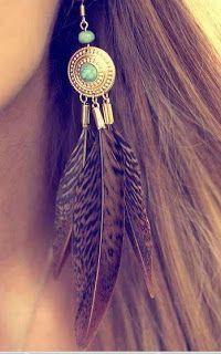 aretes de plumas largos