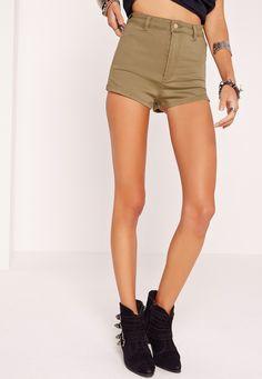 Missguided - Vice High Waisted Denim Shorts Soft Khaki