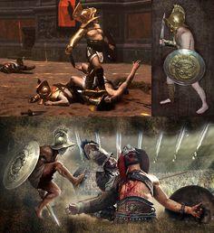 Ancient Rome, Ancient Art, Ancient History, Gladiator Fights, Gladiator Armor, Gods Of The Arena, Roman Gladiators, Marshal Arts, Roman Warriors