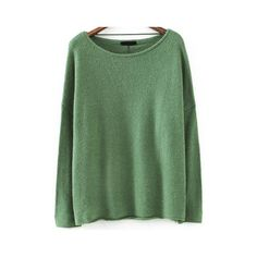 Boat Neck Loose Green Sweater ($16) ❤ liked on Polyvore featuring tops, sweaters, green, pullover sweater, loose fitting sweaters, acrylic sweater, loose sweater and loose fit sweater