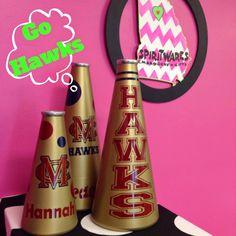 MC / Hawks Megaphones, Cheer, Cheerleader, Team Spirit, Megaphone Maven