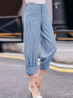 Shop Casual Linen Ankle-Length Solid Color Pants at EZPOPSY. Trouser Pants, Trousers Women, Pants For Women, Clothes For Women, Plazzo Pants, Linen Pants, Fashion Pants, Fashion Dresses, Dope Fashion