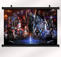 """Mass effect 2 3 4 Game Fabric poster with wall scroll 22"""" x 16"""" Decor 98"""