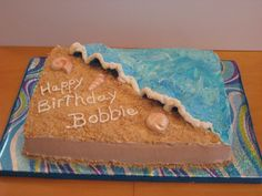Birthday Shores - This is the sheet cake that I did to match the 2-tier beach themed birthday cake I just posted.