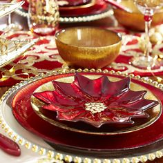 Poinsettia Glass Salad Plate - Red