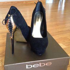 Velvet heels Bebe velvet black heels, it's super chic & sexy. Worn once. Still in great condition! bebe Shoes Heels