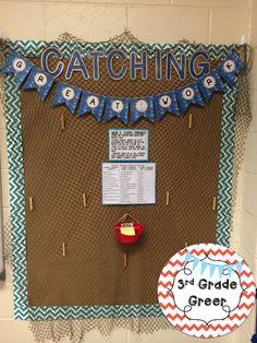 "My nautical classroom ""Catching Great Work"" board!  http://www.teacherspayteachers.com/Product/CatchingGreat-Work-Nautical--1348993"