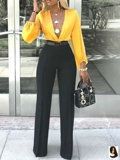 Full Length Patchwork Color Block Western High Waist Women's Jumpsuit The Effective Pictures We Offer You About Jumpsuit dressy A quality picture can tell you many things. Mode Outfits, Fall Outfits, Fashion Outfits, Womens Fashion, Fashion Pants, Ladies Fashion, Summer Outfits, Fashion Sandals, Petite Fashion