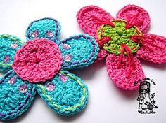 Flower on Ravelry - free pattern available in both English and Czech. Love these, so bold and bright! #crochet #flowers