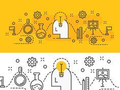 Outline illustration Design Concept of Idea Process