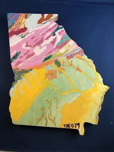 Acrylic painting of the geologic map of Georgia by the author. The painting was done on wood in the shape of the state. Plate Tectonics, Weather And Climate, Rock Collection, Diy Canvas Art, Environmental Science, Art Techniques, Geology, Georgia, Original Paintings